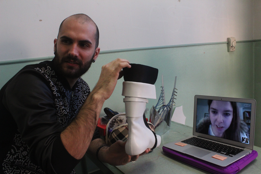 Lea Germano, Skyping in to work with Federico Boscolo on her prototype.