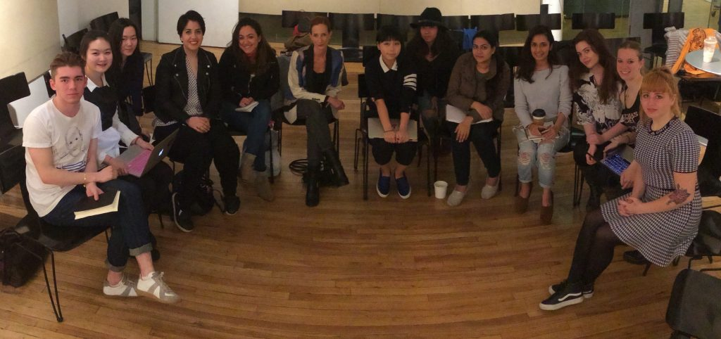 New York Times Chief Fashion Critic and Fashion Director, Vanessa Friedman, with the students of Fashion Publishing